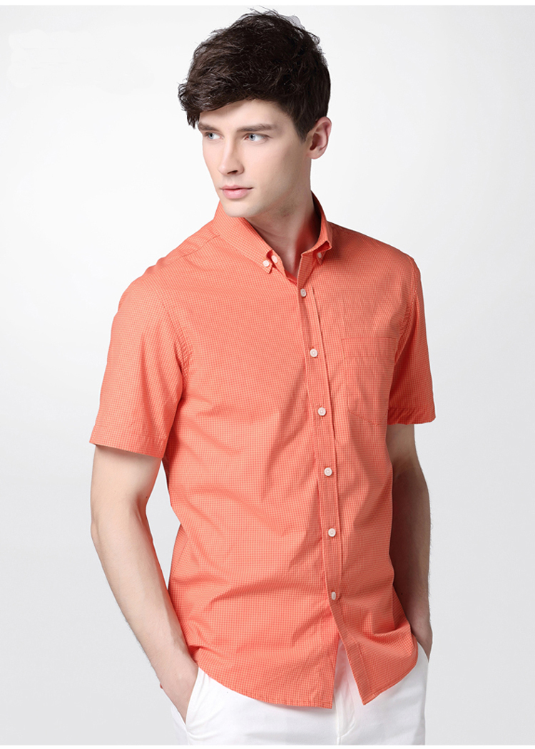 Stylish men plaid shirt short sleeve orange lapel plaid Short sleeve plaid shirts