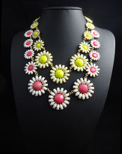 N2016031505 new 2016 summer  Flower daisy Statement Necklace Women Rhinestone Necklaces & Pendants Jewelry Colar For Gift Party(China (Mainland))