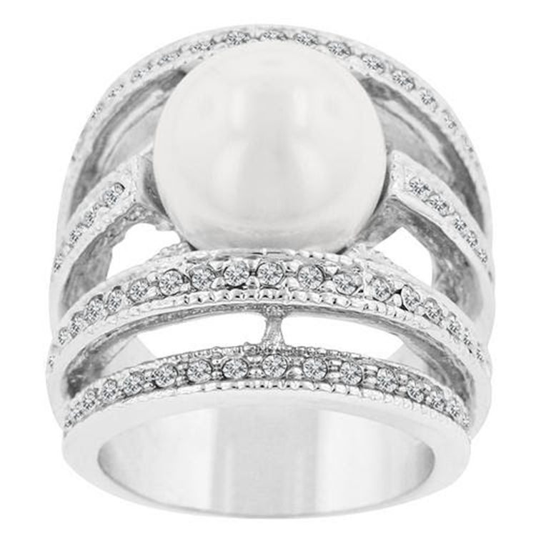 2015 Fine jewelry Stone crystal inlaid pearl ring Platinum plated Rings for women New Sale free shipping(China (Mainland))
