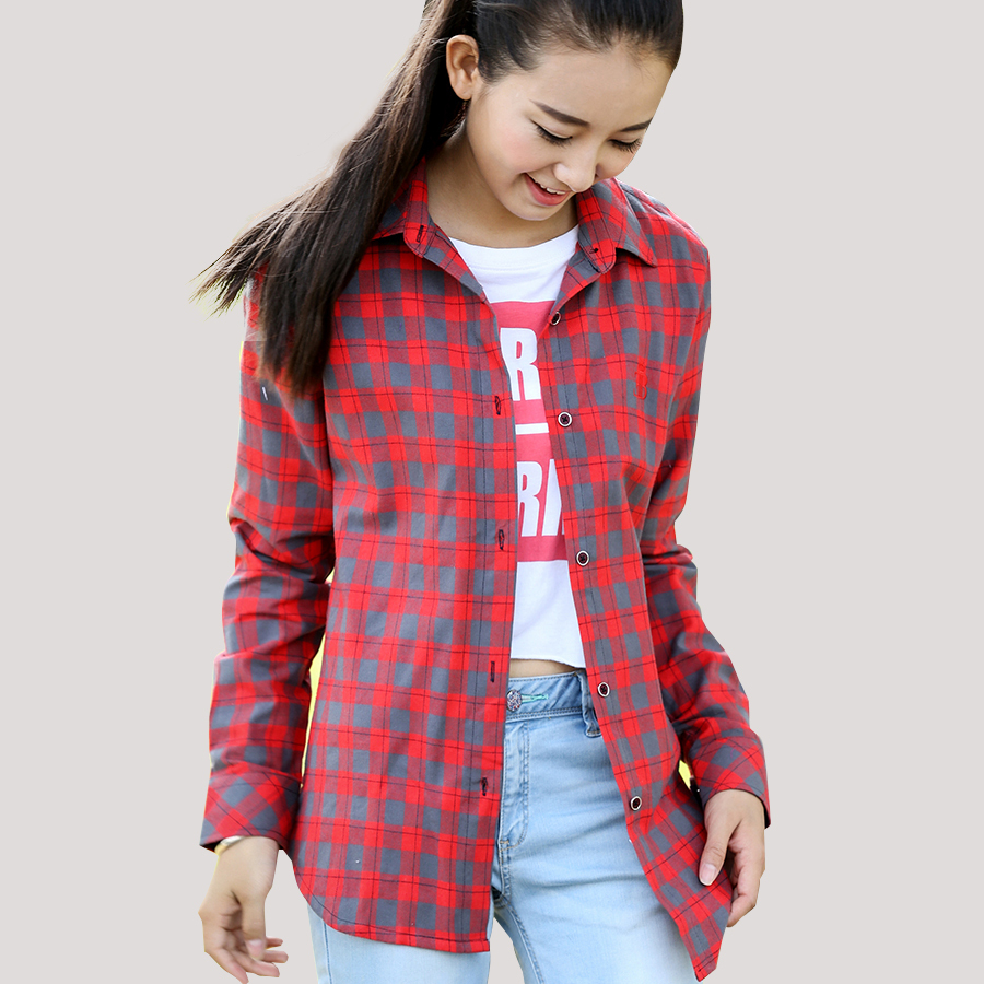 Womens red plaid flannel shirt fit slim casual long sleeve Womens red plaid shirts blouses