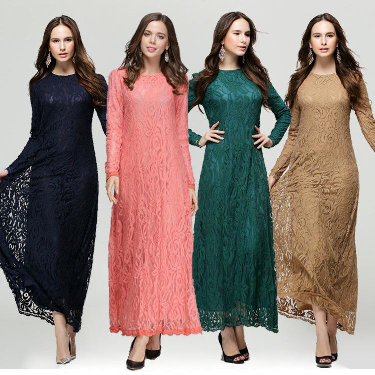 Muslim Lace Dresses For Women 2015 Long Maxi Dresses Malaysia Abayas In Dubai Turkish Ladies