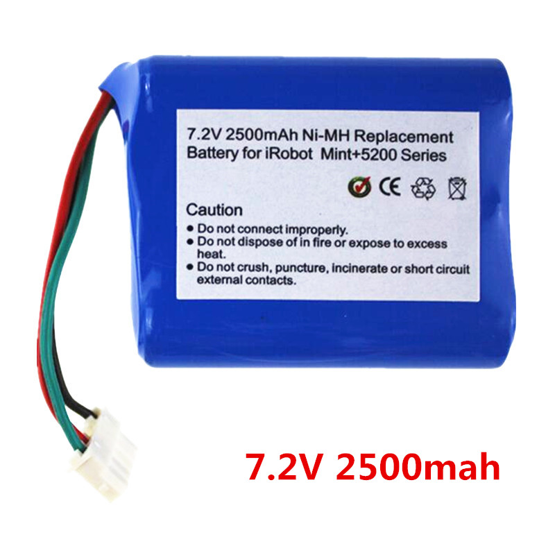 7.2V2500mAh vacuum Cleaner Battery High quality Battery for mint 5200 5200C For irobot Braava380t(China (Mainland))