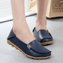 Buy Fashion women casual shoes spring women Flats solid color loafers mother leather shoes Slip female flats ladies 2017 SRT432 for $10.84 in AliExpress store