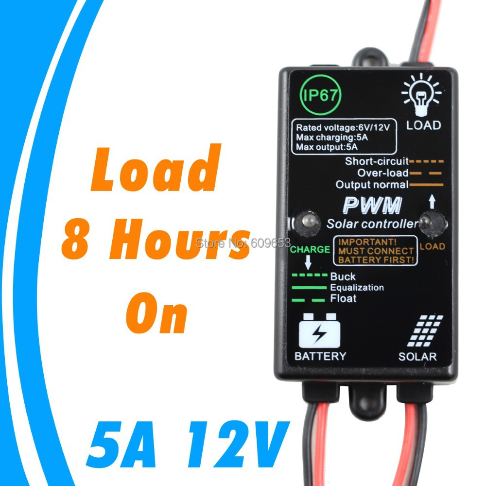 Mini 5A 5 Amps 12V Solar Charge Controller with light and timer controller PV battery Charge Regulator<br><br>Aliexpress