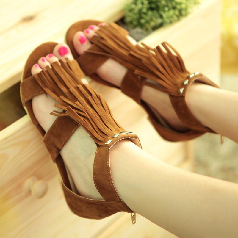 Rome Style T Straps Tassels Rivets Sandals sapatos femininos sandalias femininas flat sandal Women's Summer Casual Shoes Flats(China (Mainland))