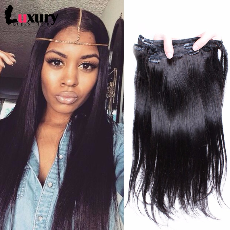 7A Straight Clip In Human Hair Extensions Peruvian Straight Virgin Human Hair Clip In Extensions 7pcs/set 120g For Black Women