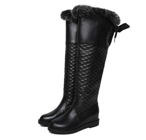 2015 warm faux fur waterproof snow boots women winter fashion ladies high White black brown color drop shipping - SAR store