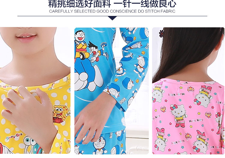 Children's long sleeved pajamas set 2016 spring/autumn new boys cartoon lovely sleepwear girls casual homewear kids clothes suit