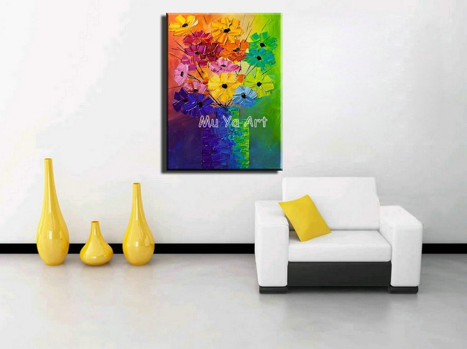 Buy Large Abstract modern canvas wall handpainted large Knife paint oil painting on canvas for Kitchen room wall bedroom decoration cheap