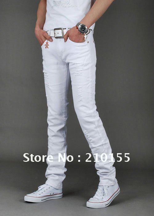 white slim jeans for men - Jean Yu Beauty