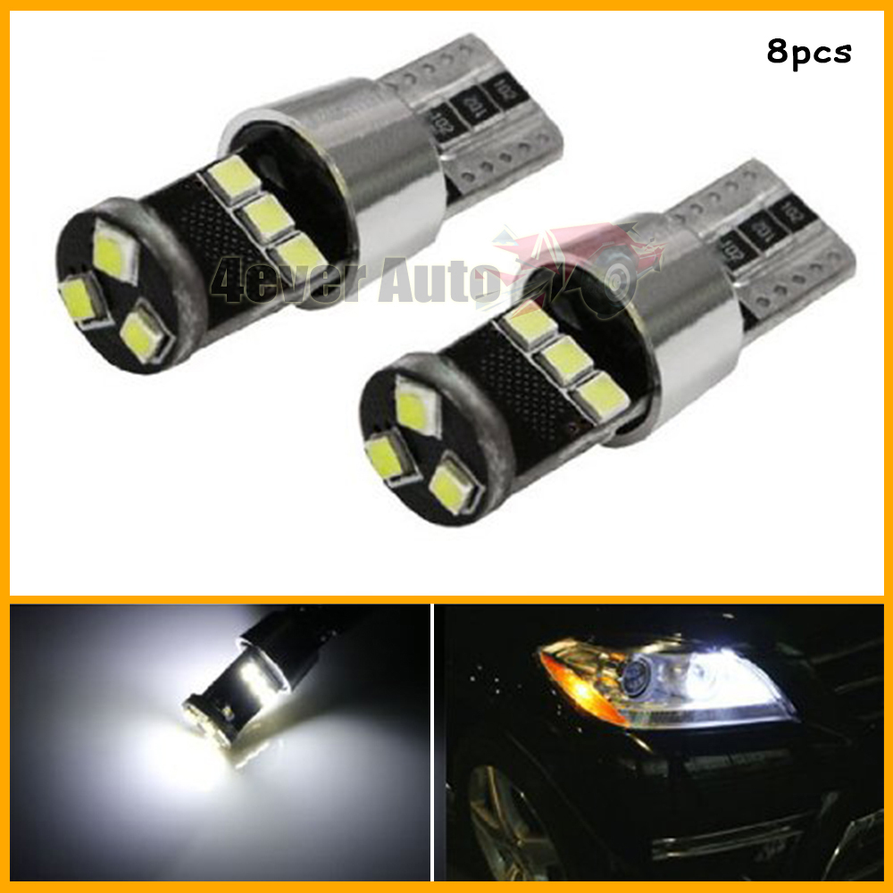 (8) HID Match Xenon White 9-SMD-2835 CAN-bus Error Free T10 W5W LED Parking Light Bulbs For Audi BMW Mercedes Volkswagen & More(China (Mainland))