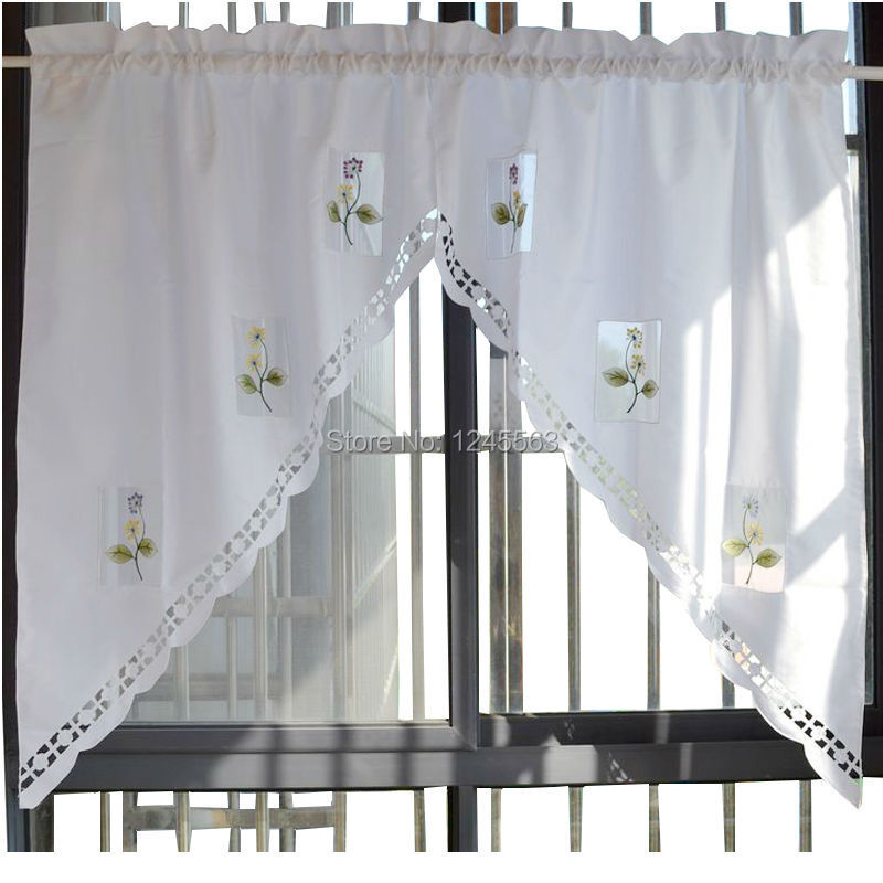 1 pair Rod Pocket Tiers Curtain Valance Hollow-out Coffee Curtain Swags,75cmW*90cmH,2 pieces(China (Mainland))