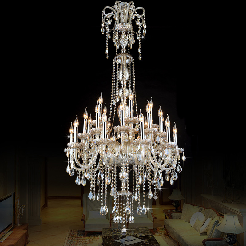 European Style Crystal Lamp Modern Living Room Simple Candle Light Large Complex Villa Project Staircase chandelier 12 or 18 arm(China (Mainland))