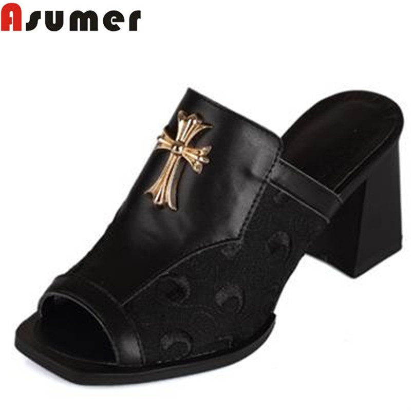 plus size high quality genuine leather women sandals slides black white brand thick high heels summer lady dress shoes woman<br><br>Aliexpress