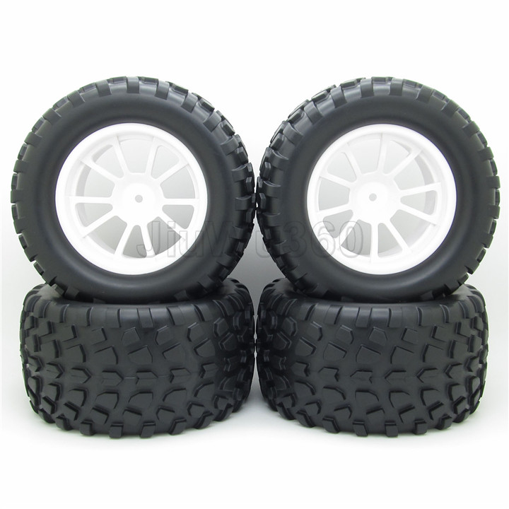 RC 1/10 Truck Off-Road Car Rubber Tires + 5 Spoke Wheel Rim White RC Car Parts(China (Mainland))