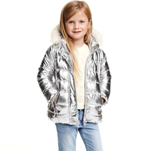 New Girls Outerwear Girls Winter Coats Double Pocket Fashion Silver Childrens Winter Coats Cute Clothes Wool Hooded Jacket(China (Mainland))