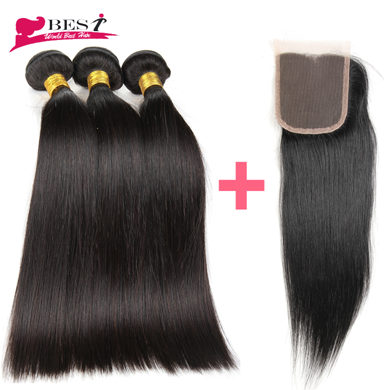 3 Bundles Peruvian Virgin Hair Straight with Closure Human Hair with Closure 7a Peruvian Virgin Hair with Closure Straight Hair