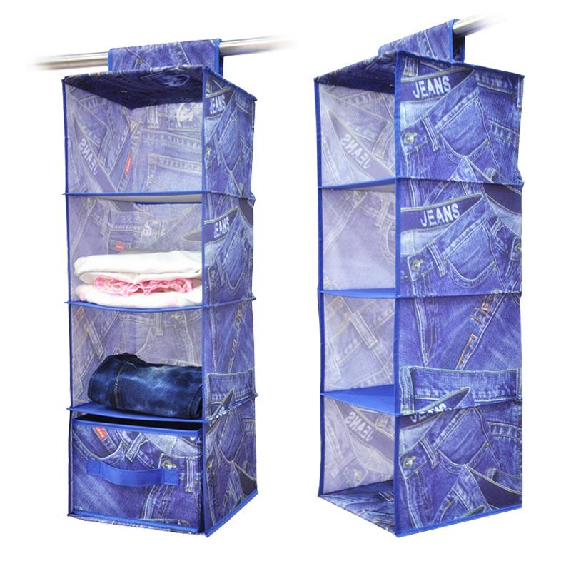 2015 Promotion New Glossy Box Box Organizador Household Essentials 4-shelf Hanging Closet Organizer Shelves, Natural Polyester(China (Mainland))
