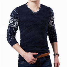 New Arrive 2015 Autumn Winter Slim V-Neck Sweater Men Stripe Printing Pullover Sweater,Wholesale Retail Plus Size M-XXL(China (Mainland))