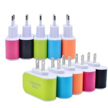1pcs Factory outlet 3 usb candy dazzle colour light general recharge my cell phone battery chargers for android pingguo head(China (Mainland))
