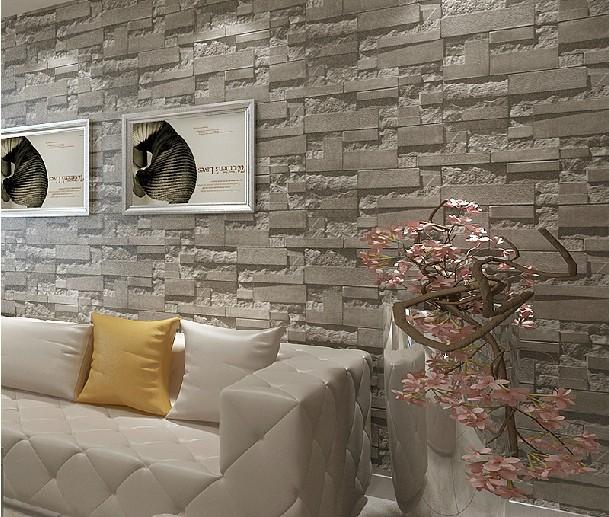 tapete wohnzimmer grau:3D Grey Brick Wall Living Room
