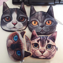Fashion Children Gift Lovely Cat Face Zipper Case Coin Purse Pouch Wallet 4 Colors BG-0496(China (Mainland))