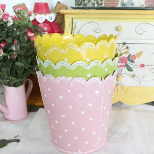 Garden Supplies Iron Pastoral Painting Flower Pots Planters Candy Color Metal Bucket Holder (3 pcs/lot)