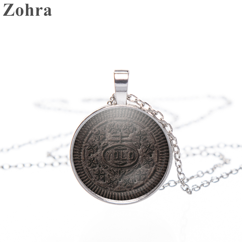 Zohra Fashion Jewelry for Women Man's Pendant Necklace Chain Fine Chocolate Cookie 3D Printed Necklaces & Pendants Glass Pendant(China (Mainland))