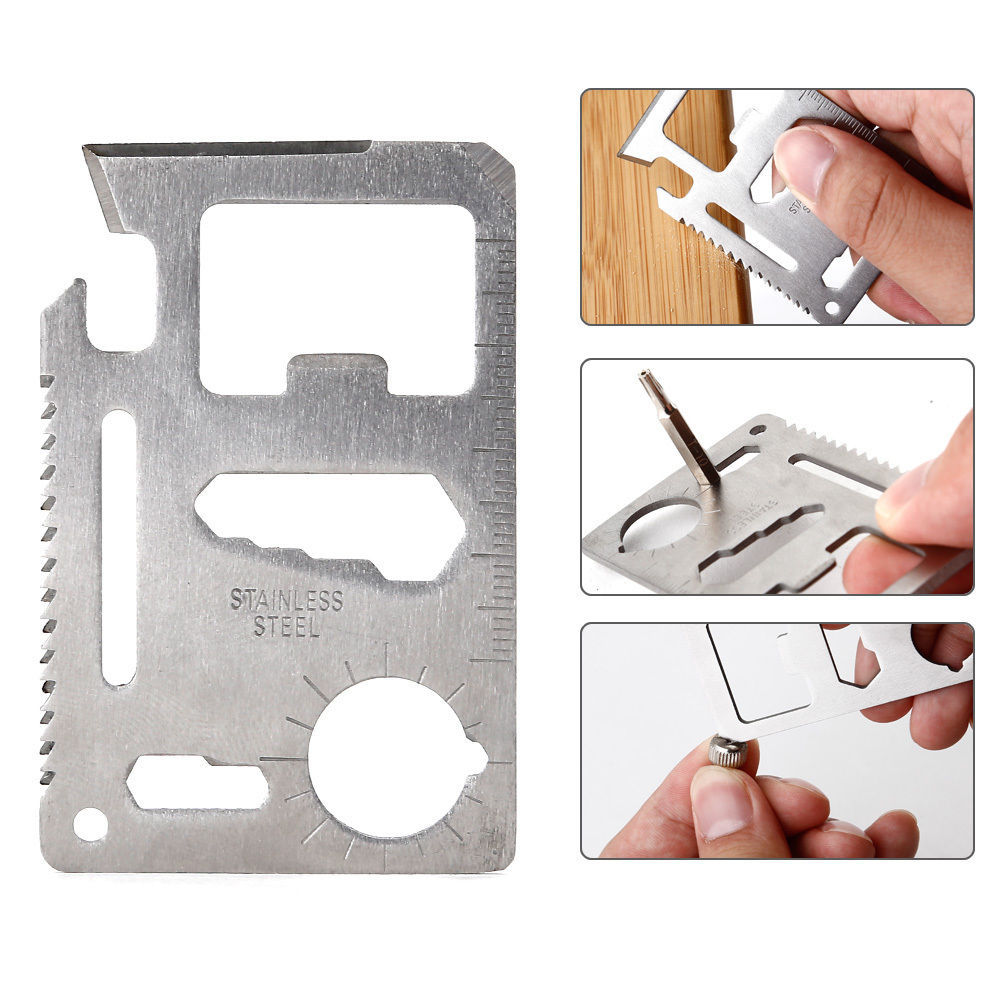 Stainless Steel Multi Credit Card Living Survival Outdoor Pocket Camping Tool Knife Saw Opener