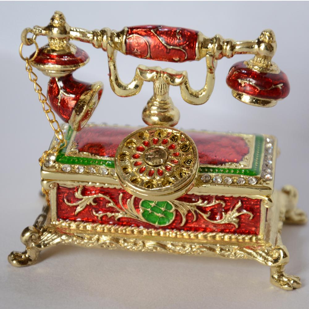 antique telephone jewelry box home decoration telephone trinket box enameled box pewter crystal Christmas birthday gift(China (Mainland))