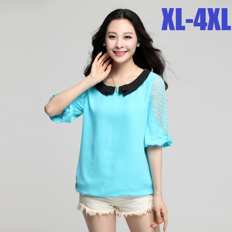 2015 Summer Blouse Chiffon Shirt Women Peter Pan Collar Ladies Office Shirt lace half sleeve Camisas Mujer cute blouse topsXXXXLОдежда и ак�е��уары<br><br><br>Aliexpress