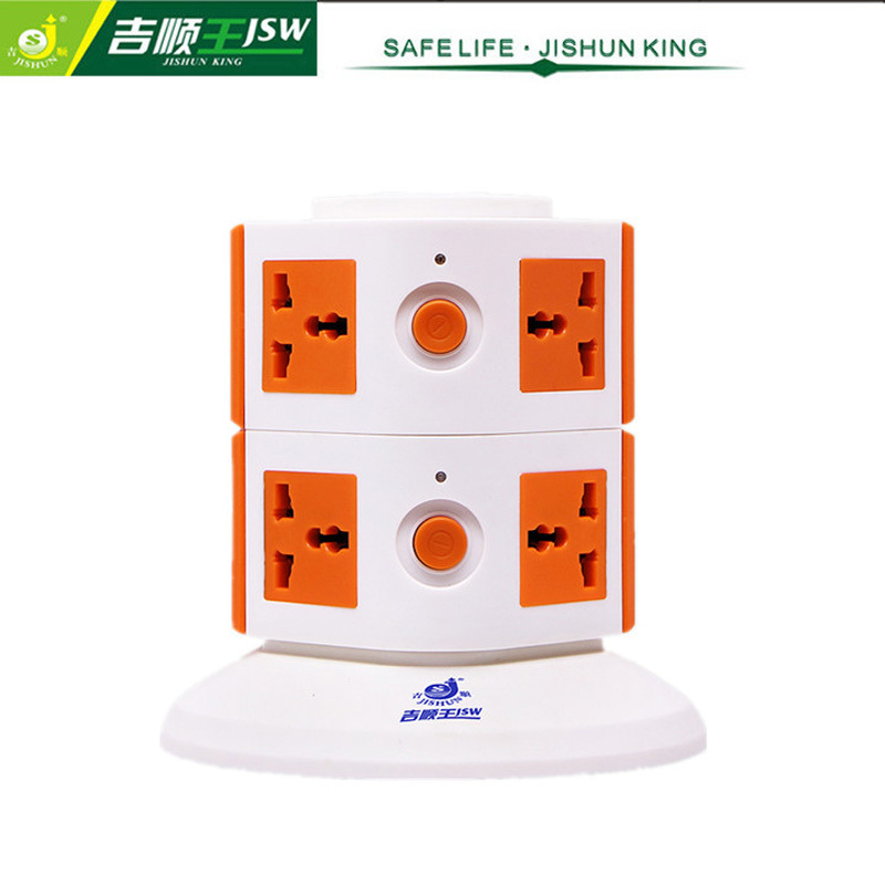 8 Ways Electrical Extension Socket Portable Tower Universal Outlet Multi Plugs Individual Switch AC 250V JSW-612K(China (Mainland))