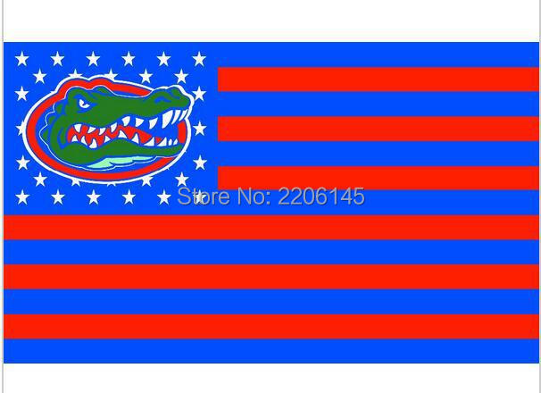 Florida Gators with us stars stripes 3ftx5ft Banner 100D Polyester Flag metal Grommets NCAA flag 90x150cm(China (Mainland))