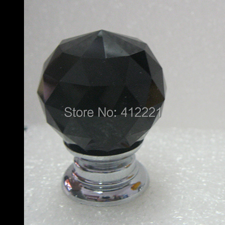 Free shipping 10 Pcs/lot Black K9 Crystal 30mm Drawer Pulls Knob for Kitchen Bedroom Wardrobe Dresser Drawer HOT SALE in stock(China (Mainland))