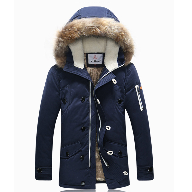 Thicken Men's Down Jacket Average 1.4KG/pcs Long Section Leisure Winter Fashion White Duck Down Coat Faux Fur Trench Hood Parkas(China (Mainland))