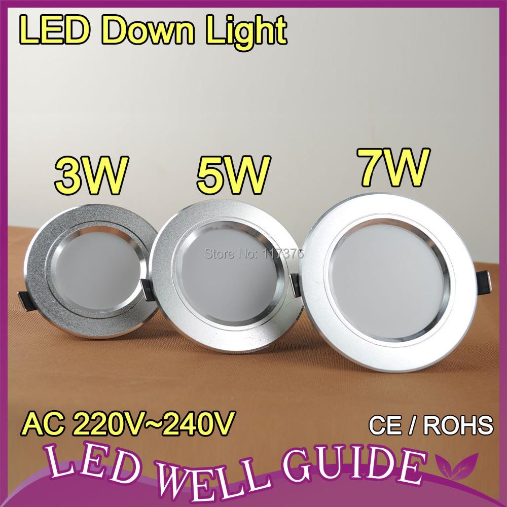 LED Downlight 3W 5W 7W 2835 SMD AC220V 240V Warm White Cold White LED Downlights Led Lights For Home Indoor Lighting LED Lamp(China (Mainland))
