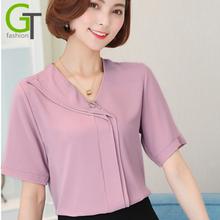 Buy 2017 Solid Color Fashion Women Chiffon Shirts Ruffled V Neck Short Sleeve Blouse Casual Elegant Female Chiffon Tops Shirt blusa for $9.90 in AliExpress store