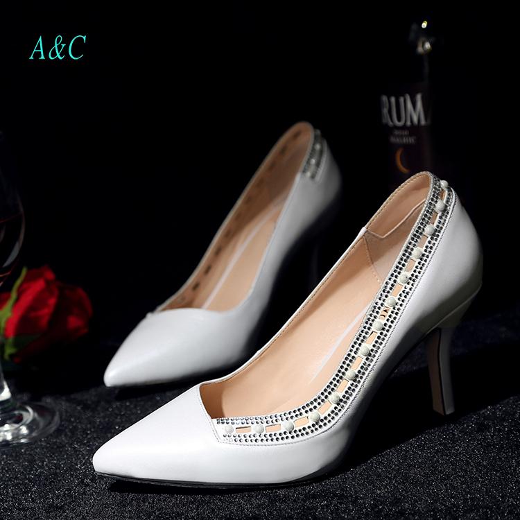 women sexy Breathable sheepskin high heel pumps new 8cm fashion office Stilettos designer Pierced ladies elegant wedding shoes(China (Mainland))