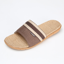 Linen Lovers Slippers Summer Female Slip-Resistant Sweat Absorbing At Home Floor Breathable Sweat Absorbing Male Slippers