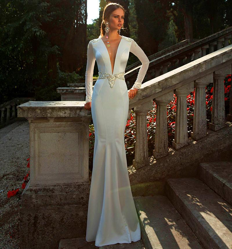 Deep Low Back Wedding Dress : Aliexpress buy fashion elegant sexy deep v neck