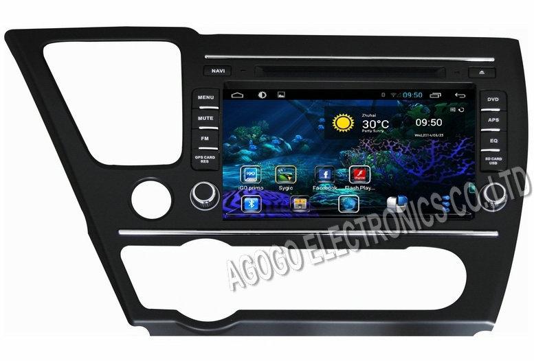 Android 4.4 car dvd for SHONDA CIVIC 2014,gps Capacitive screen,3g, wifi ,car stereo,gps, player,audio,head unit(China (Mainland))