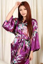 Hot-sale Products!!! Chinese Style Women's Peacock Kimono Bath Robe Night Robe Gown Yukata S M L XL XXL 3XL(China (Mainland))
