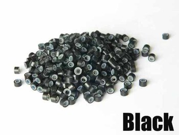 1bottle Silicone Micro Ring Beads silicone Micro Ring for Hair Extensions, Beads for feather hair extension,Black