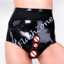 Free shipping!! Men latex short pants with condom(China (Mainland))