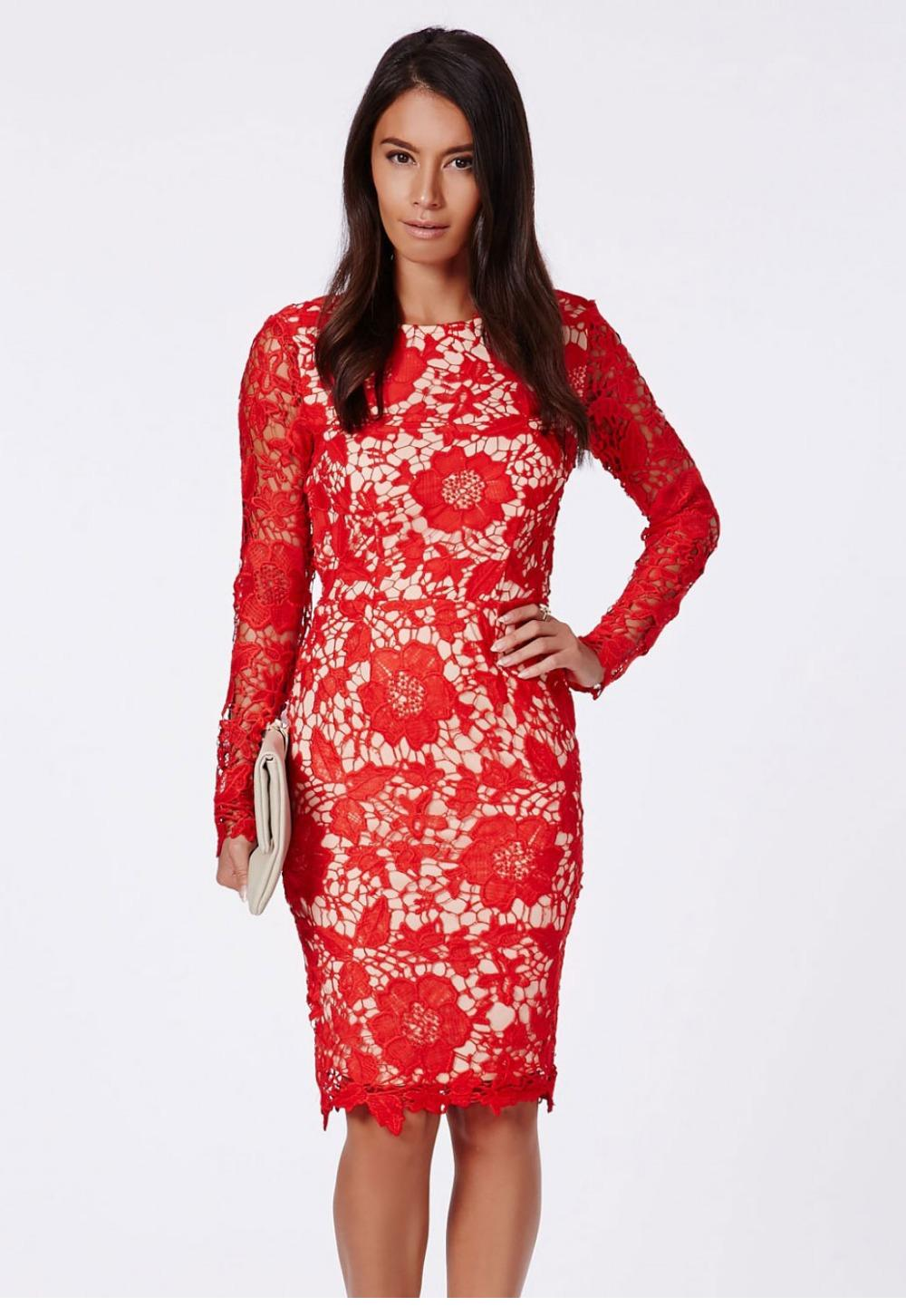 Red Open Back Bodycon Dress White Red Open Back Lace Long