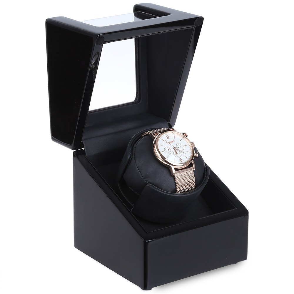 6 Colors Rotary Automatic Rotating Wooden Watch Box Winder Display Box Flipping Transparent Cover Jewelry Storage Organizer(China (Mainland))
