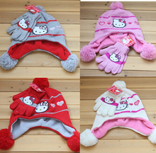 Retail 1 set New Srping  Autumn winter  Fashion Hello Kitty hats+gloves baby  hats cap  cotton  hats for baby girl(China (Mainland))