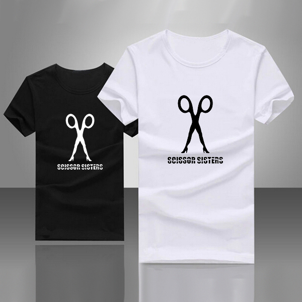 Scissor Sisters Logo Letter Print T-shirt Female Swag Style T-shirt Womens Text Apparel Girl Friend Black White Top Skate Tees(China (Mainland))