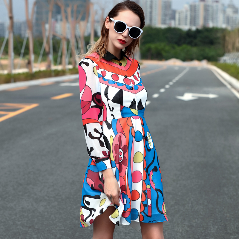 Black turn down collar flowers dots printed colorful 2016 high quality runway dresses summer spring garments for women T160319(China (Mainland))