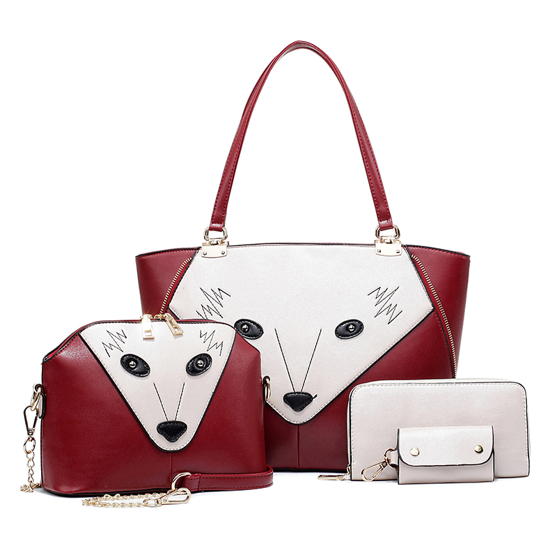 4Pcs/Set women Handbag Sac Cabas Femme PU Leather Purse Bag Ladies Shoulder Bags Large Capacity Tote De Couro Bolsa